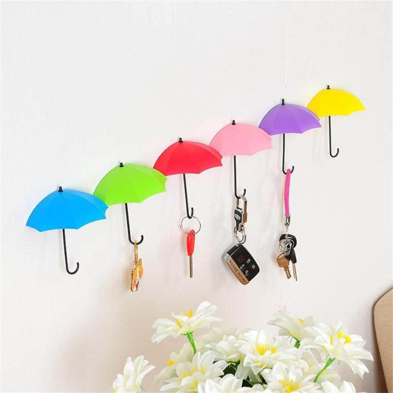 12Pcs Colorful Umbrella Wall Hook Key Hair Pin Holder Organizer Decorative