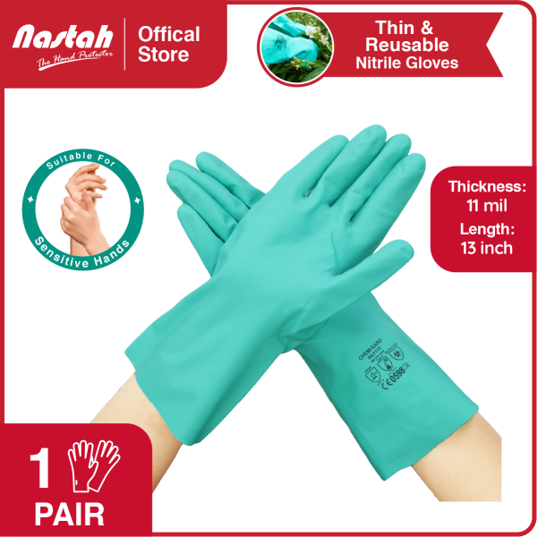 [1 Pair] Nitrile Gloves Chem-Gard NU1113 Green Color 11 mil Thick 13 Inch Long Reusable Thinnest Lightweight Unlined Chemical Resistant Nitrile Gloves Anti Chemicals, Acids, Alkali, Solvents, Oils, Greases Available In Size S,M,L,XL,XXL