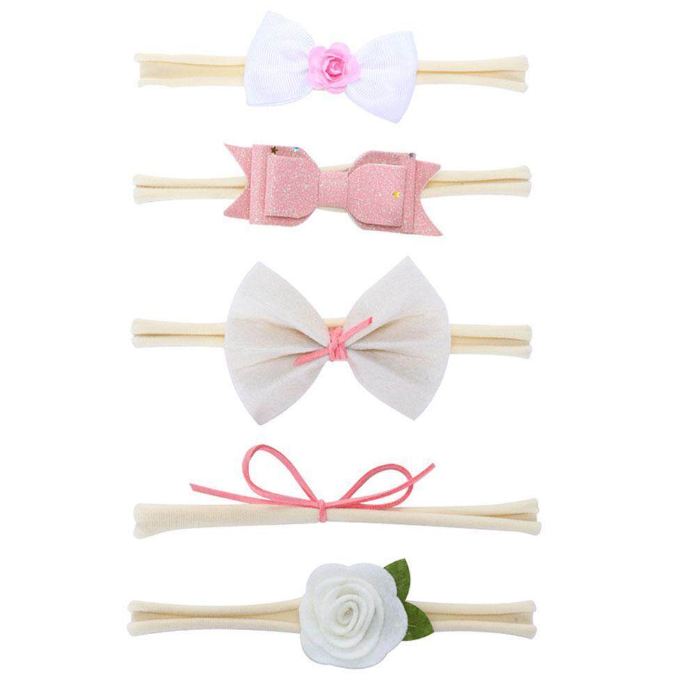 c5d72a3cab7 OutFlety 5pcs Kids Elastic Floral Headband Handmade Cute Ribbon Baby Hair  Clips Hairband Set