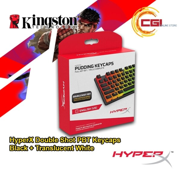 HyperX Pudding Keycaps - Double Shot PBT Keycap Set with Translucent Layer, for Mechanical Keyboards, Full 104 Key Set - Black (HKCPXP-BK-US/G) Malaysia