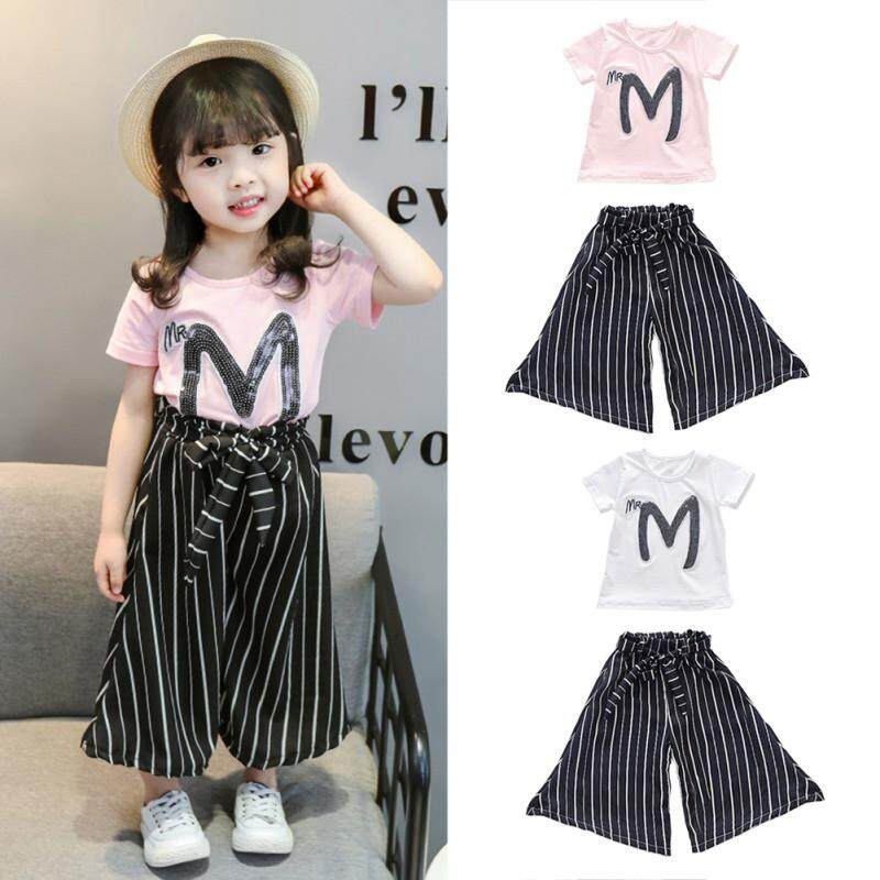 Baby Girl Letter Print Short Sleeve T-shirt+Stripe Wide Leg Pants BW