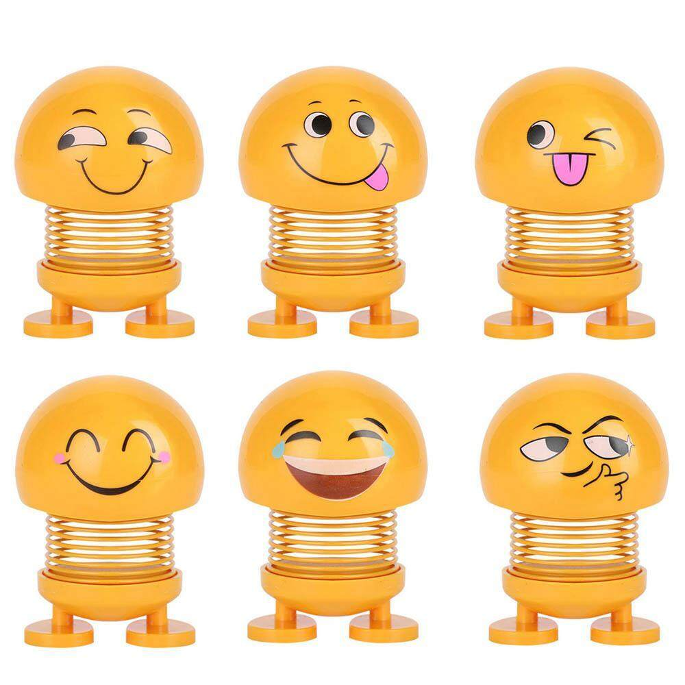 Flyupward 6 Pcs Ornamen Mobil Boneka Emoji Aksi Musim Semi Menggelengkan Kepala Boneka Baru Emotikon Lucu Gemetar Kepala Menari Mainan Kreatif Anak