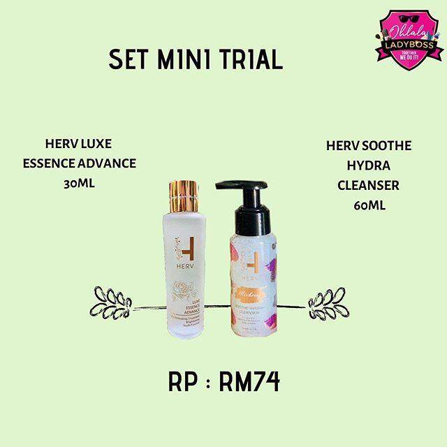 SET TRIAL HERV - HERV LUXE ESSENCE 60ML + HERV SOOTHE HYDRA CLEANSER (MIXBERRY)