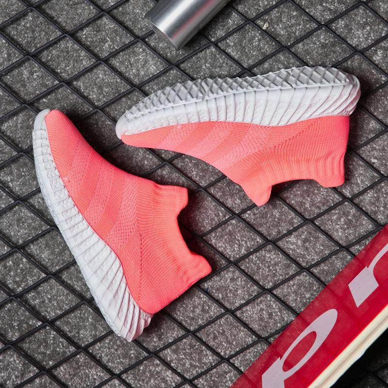 Summer new fashion kids fly knitted sneaker mesh breathable casual slip on sports running shoes girls boys shoes