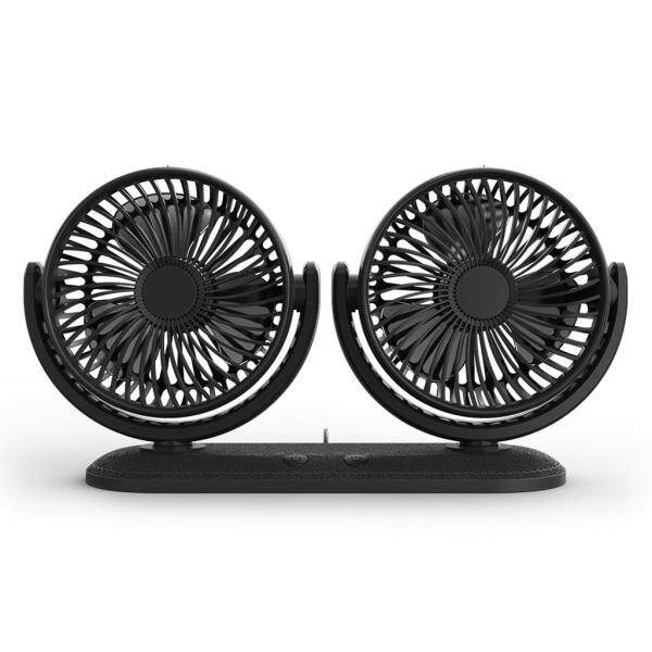 ➥USB 5V 2A Fan 360° Rotatable Dual Head Car Fan Adjustable 3 Speeds Dashboard Desk Auto Fan for Vehicle Truck Van SUV RV Boat Home Office