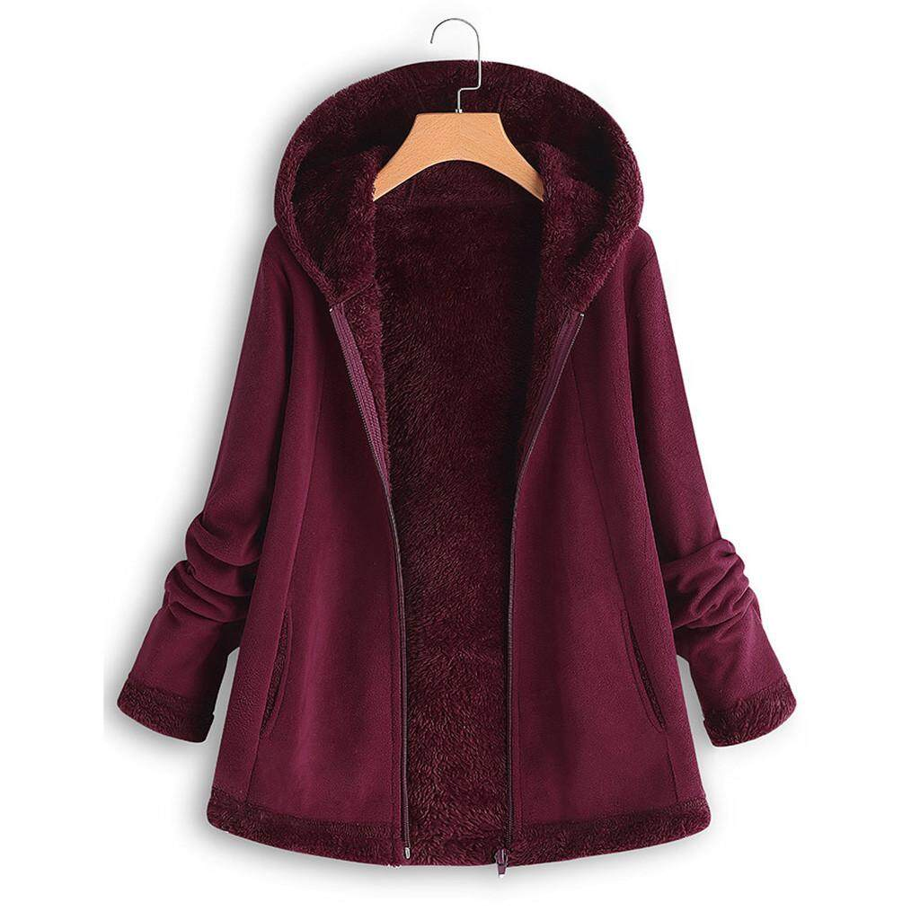 1dd3036ae Wonder Coat Women's Modish Winter Pocket Zipper Long Sleeve Plush Hoodie  Coat