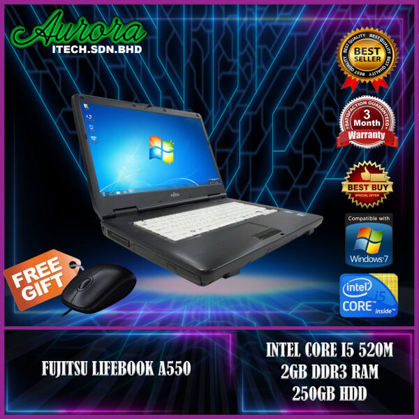 (REFURBISHED)FUJITSU LIFEBOOK A550 / INTEL CORE I5 520M / 2/4 GB DDR3 RAM / 250GB HDD / 120GB SSD / 15.6 INCH LCD / 3 Month Warranty, Free Mouse Malaysia