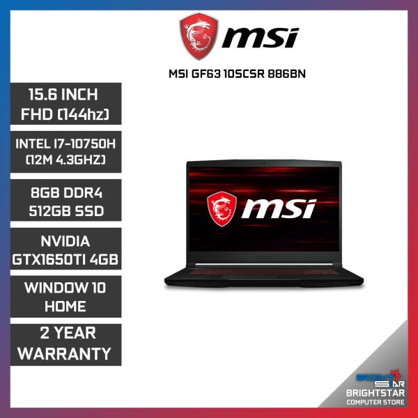 MSI GF63 10SCSR-886BN THIN GAMING LAPTOP 15.6 FHD / INTEL I7-10750H / 8GB / 512GB SSD / NVIDIA GTX1650TI 4GB / 2 YEARS WARRANTY Malaysia