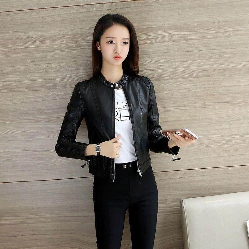 fa45753e88d ENCONTRAR Women PU Jacket Locomotive Leather Jacket Spring and Autumn New  Short Coat S-3XL