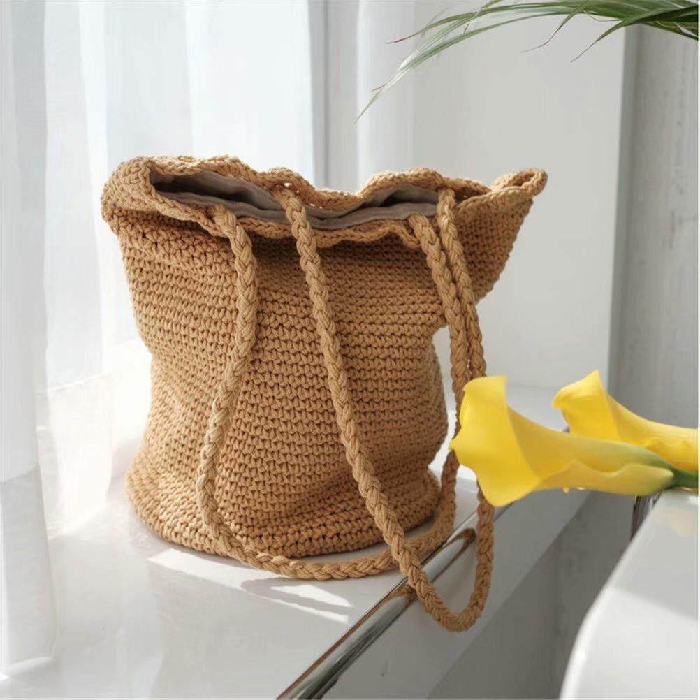 Woven Tote Bag Japan and South Korea Hansenne Style Cotton Rope Crochet Single Shoulder Bag Fashionable Casual Bucket Bag Handbag