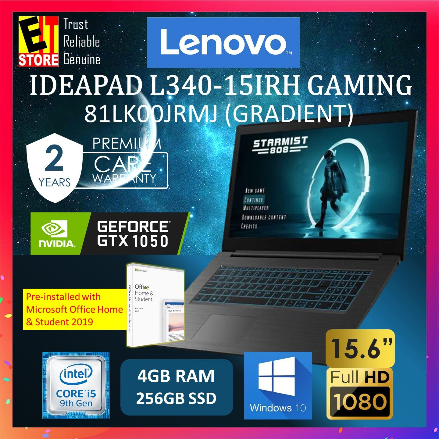 LENOVO IDEAPAD L340-15IRH 81LK00JRMJ GAMING LAPTOP (I5-9300H/4GB/256GB SSD/15.6 FHD/GTX 1050 3GB/W10/2YRS) WITH MS.OFFICE Malaysia