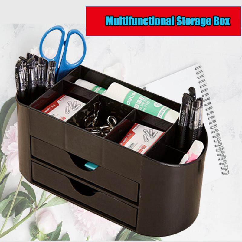 【Free Shipping】8 Grid Black Double-layer Multi-function Business Card Office Stationery Storage BoxDouble Drawer Storage Abs Plastic Save Space Widely Use