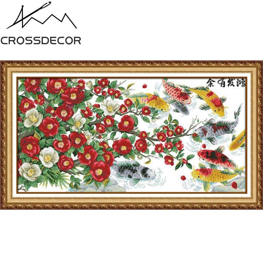 CrossDecor Stamped Cross Stitch Set 14CT Flowers and Fishes DIY Handmade Embroider Needlework DMC Complete Kits Pattern Pre-Printed On the Cloth Home Room Decor
