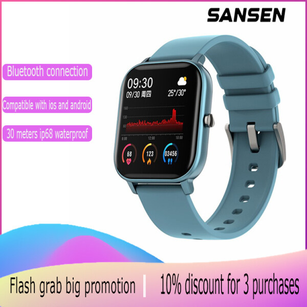 SanSen P9 European and American fashion smart watches English version smart watch Built-in speaker ip67 waterproof smart watch Support sports mode Heart rate and sleep monitoring Call and SMS reminders Global GPS positioning iOS and Android Malaysia