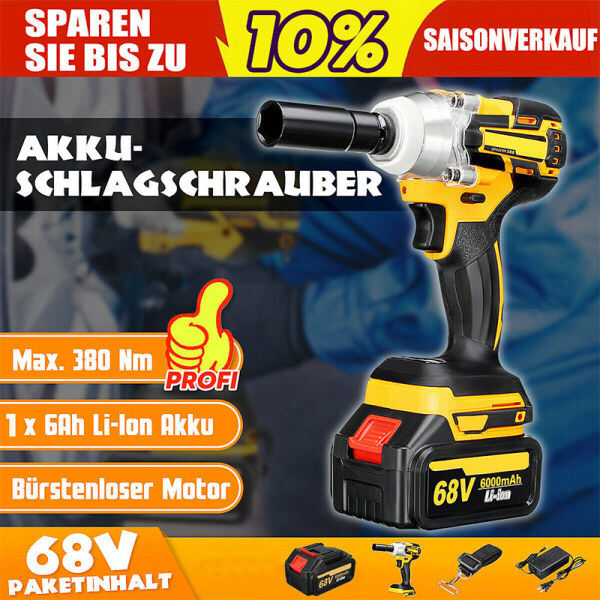 68V Electric Brushless Cordless Impact Wrench with Charger and Battery and strap