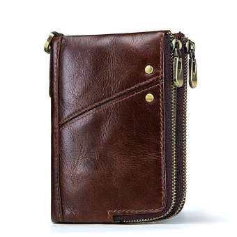 ของแท้กระเป๋าสตางค์หนังผู้ชาย Anti-Theft แปรง RFID ชั้น Cowskin Zipper กระเป๋าใส่เหรียญ (10*2*13 ซม.)-