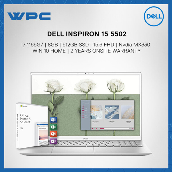 DELL INSPIRON 15 5502 SILVER (I7-1165G7/8GB/512GB SSD/15.6 FHD/MX330 2GB/W10/2YRS)+PRE-INSTALLED MICROSOFT OFFICE  HOME &STUDENT 2019 LAPTOP Malaysia