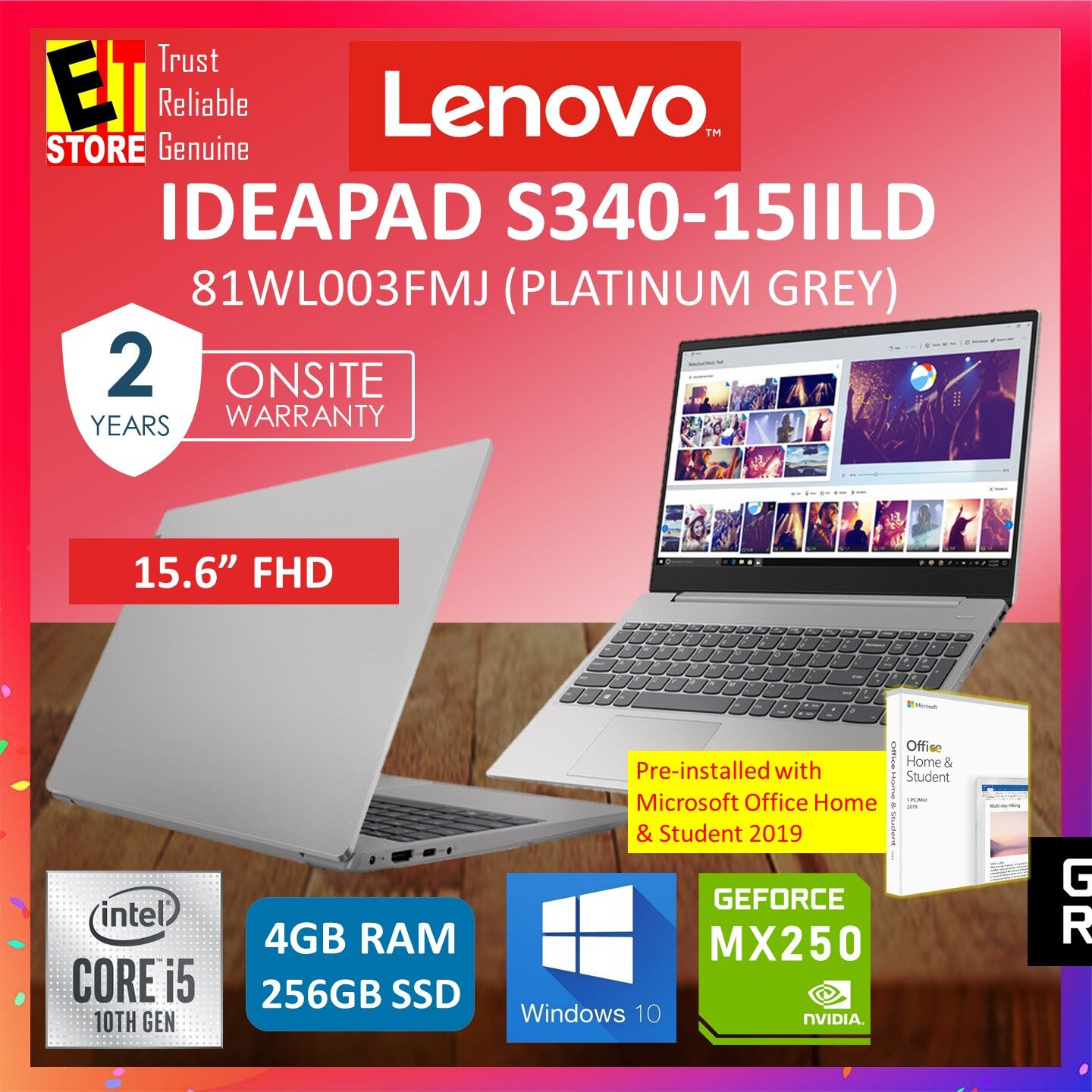 LENOVO IDEAPAD S340-15IILD 81WL003FMJ LAPTOP (GREY) (I5-1035G1/4GB/256GB SSD/15.6 FHD/MX250 2GB/W10/2YRS) WITH MS.OFFICE Malaysia