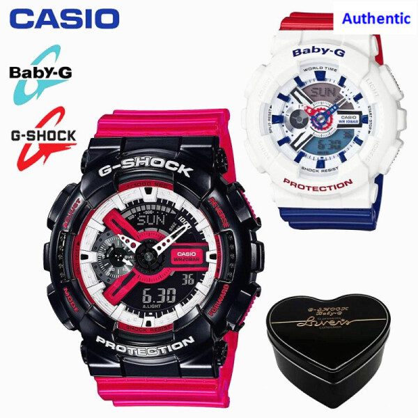 Original G Shock Baby G GA110 BA110 Men Women Couple Set Sport Watch Dual Time Display Water Resistant Shockproof and Waterproof World Time LED Light Sports Lover Wrist Watches BA-110TR-7A/GA-110RB-1A Red Black Blue (In Stock) Malaysia