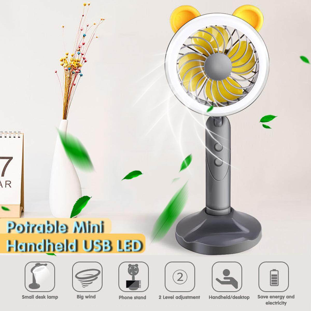 【Free Shipping + Super Deal】Potrable Mini Handheld USB Fan Desk Fan With LED Filling Light Phone Holder