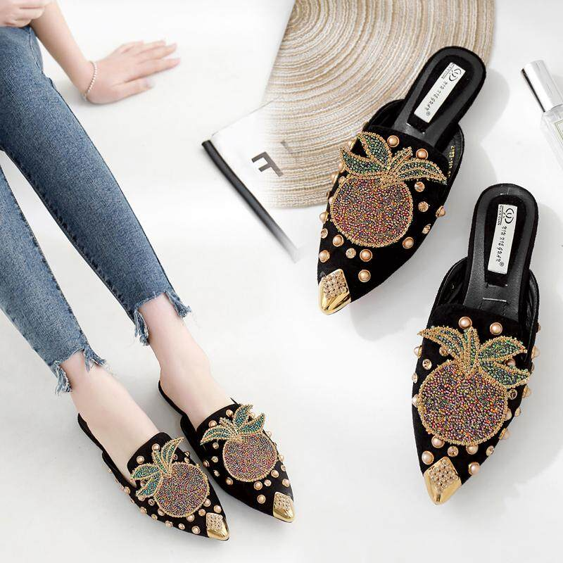 57ddbecf8fc ZAIWAN Brand Fashion Women Microfiber Mules Sandals Flat Bottom Flat Heel  Lazy Shoes Pineapple Pattern Slippers