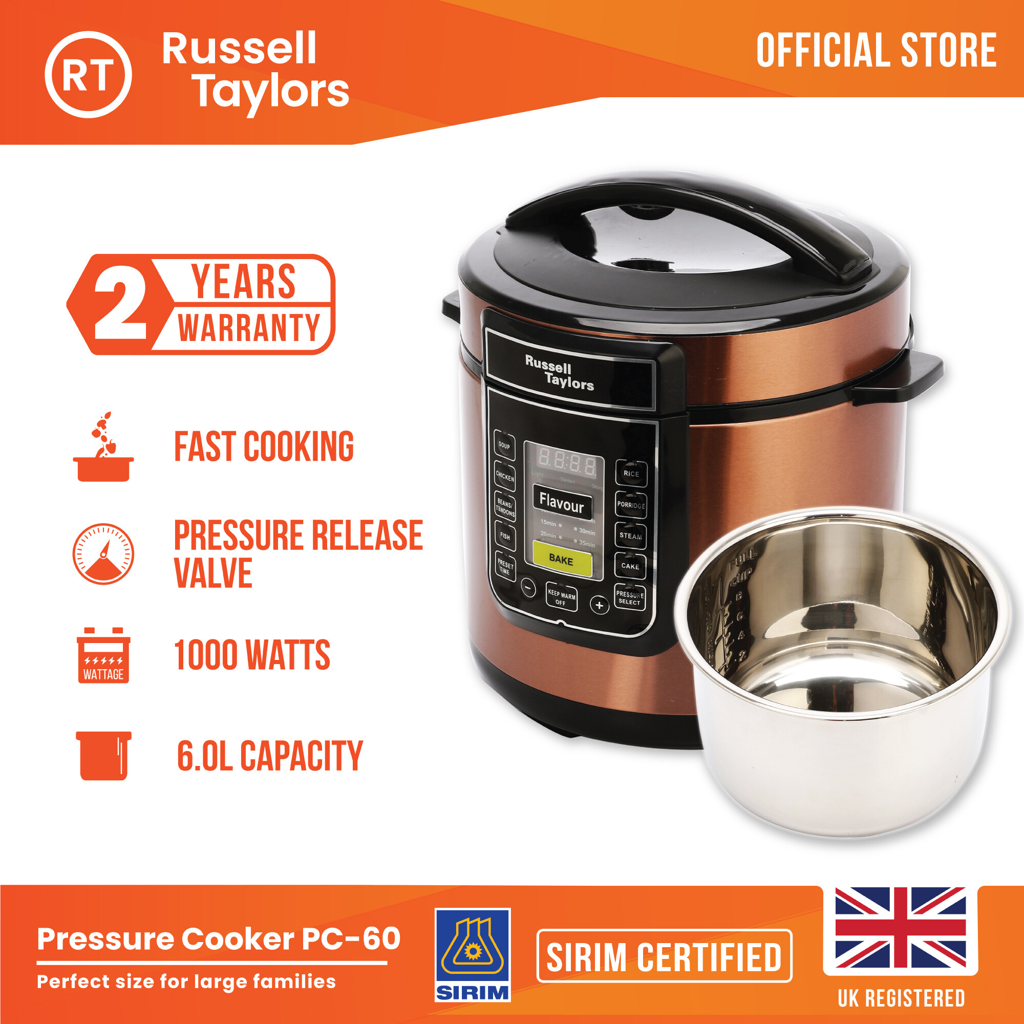 Russell Taylors 6L Electric Pressure Cooker PC-60, stainless steel pot - Multi Cooker Rice Cooker