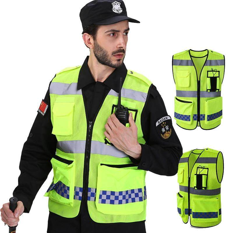 Safety Work Vest Mesh Fabric High Visibility Reflective Vest Mens Work Waistcoat With Big Tool Pockets