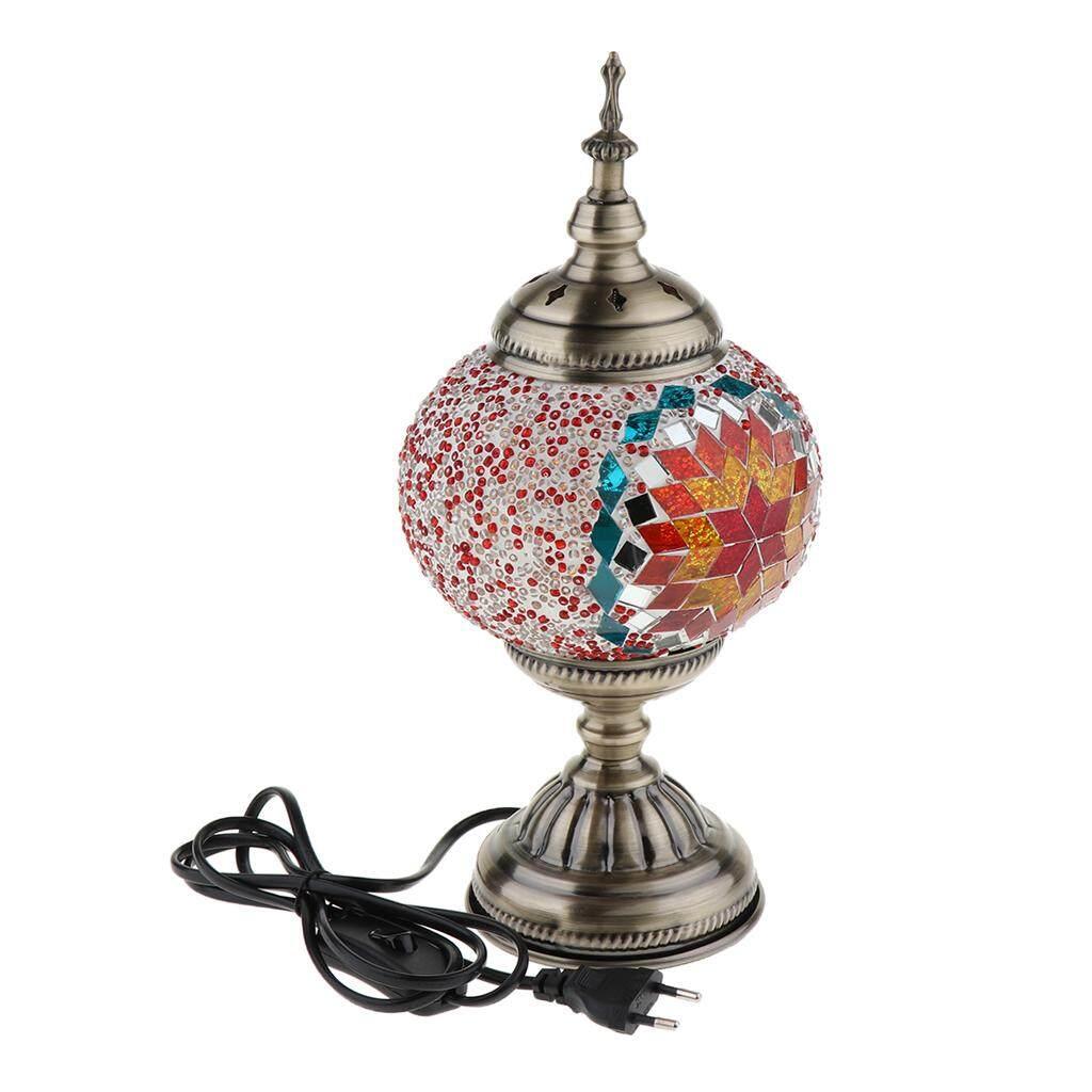 BolehDeals Turkish Type Mosaic Glass Table Desk Bedside Lamp Light EU plug