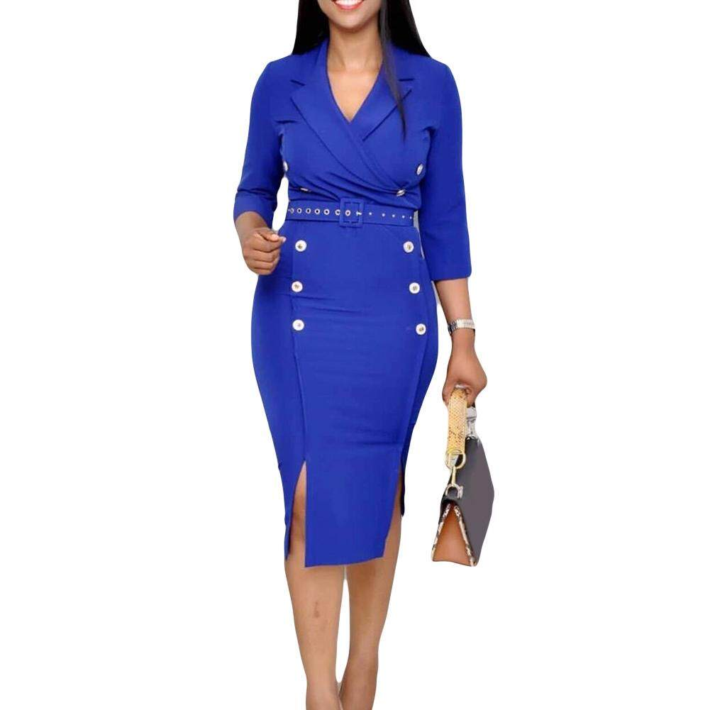 Office Lady Solid Color Lapel Half Sleeve Bodycon Split Midi Dress with Belt