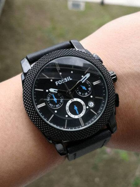 Fossil Chronograph Genuine Leather Stopwatch Function Malaysia