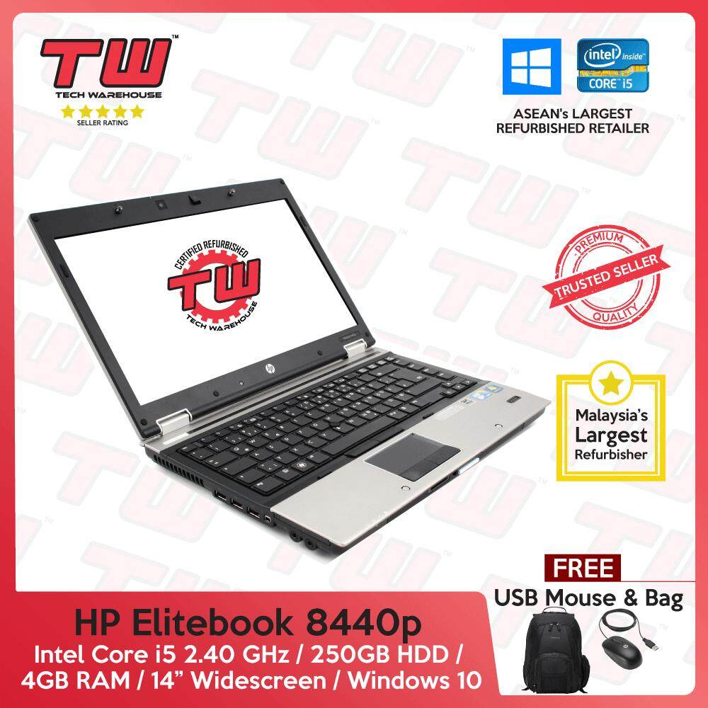 HP Elitebook 8440p Core i5 2.4 GHz / 4GB RAM / 250GB HDD / Windows 10 Home Laptop / 3 Month Warranty (Factory Refurbished) Malaysia