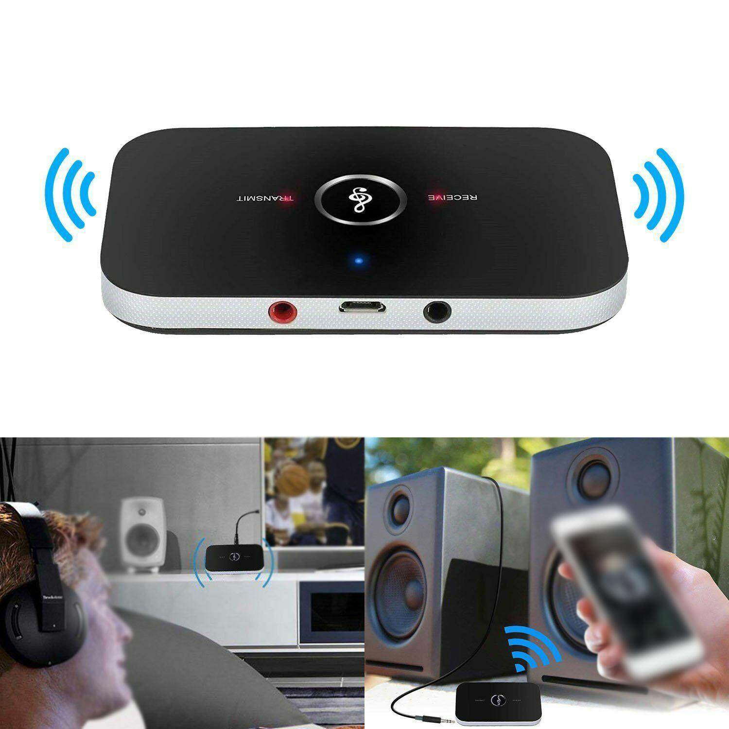 Bluetooth V4 Transmitter /& Receiver Wireless A2DP Audio 3.5mm Aux Adapter Hub