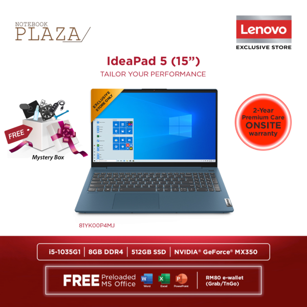 Lenovo IdeaPad 5 15IIL05 81YK00P4MJ 15.6 FHD Laptop Light Teal ( i5-1035G1, 8GB, 512GB SSD, MX350 2GB, W10, HS ) Malaysia