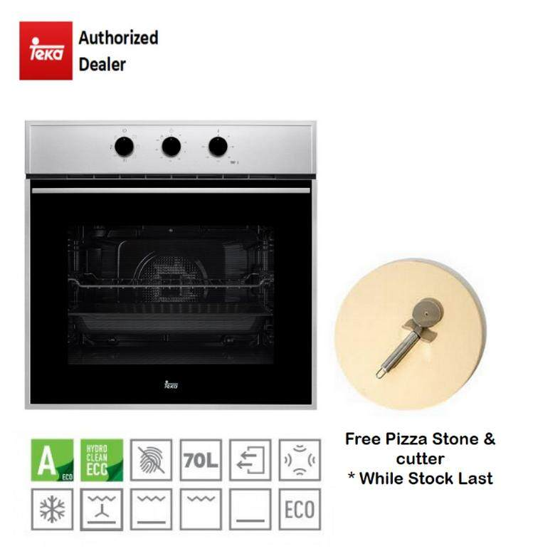 Teka Electric Oven HSB615 with 6 cooking functions, Hydroclean Eco with free gift pizza stone & cutter