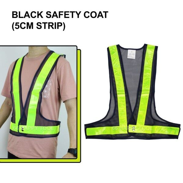Black Safety Coat with 5cm Green V-Shape Reflective Strip Velcro Stick High Quality Ready Stock Malaysia