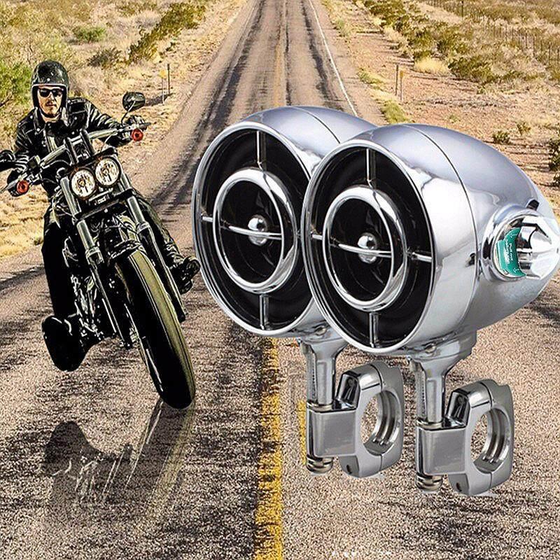 【การจัดส่ง + ข้อเสนอฉับพลัน】2x รถจักรยานยนต์ Chrome ลำโพงบลูทูธเสียงระบบเสียงสเตอริโอ Handlebar Mount By Haldis.