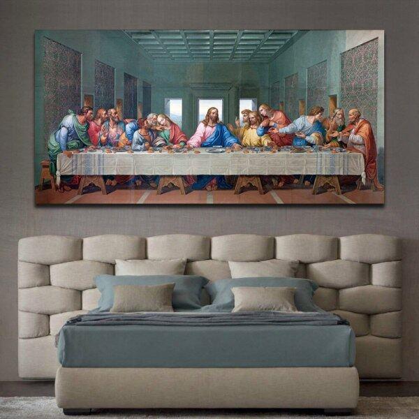 Tranh Sơn Dầu Nghệ Thuật Treo Tường The Last Supper Tranh Treo Tường Trang Trí Cơ Đốc Giáo Cỡ Lớn, Cho Phòng Khách Thẩm Mỹ Nhà Decor1PCS, Bên Trong Khung