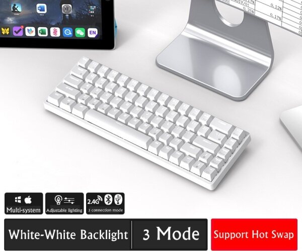 Original ROYAL KLUDGE Hot Swappable RK68 (RK837)Bluetooth 5.0 RGB Hot Swappable Mechanical Keyboard 65% Gaming Keyboard Compact 68Keys Wireless/Wired Dual-Mode Type-C  Keyboard for PC Laptop Computer