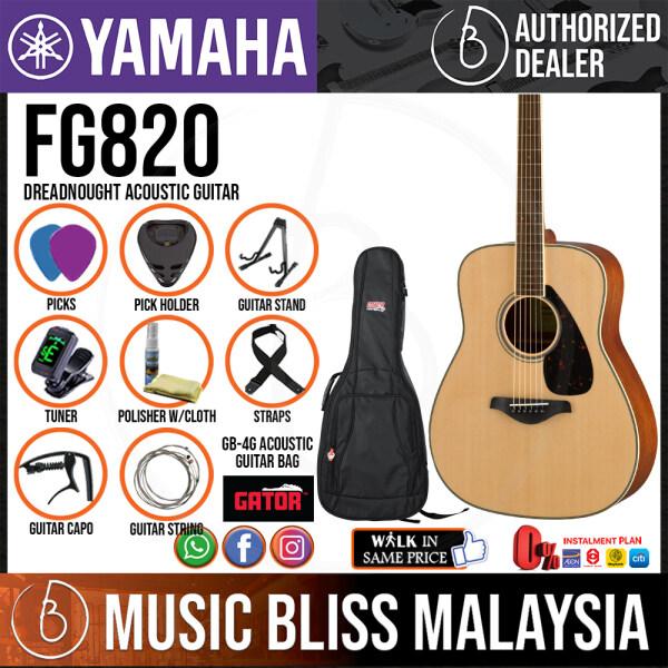Yamaha FG820 Dreadnought Acoustic Guitar w/FREE Gator GB-4G Acoustic Guitar Bag - Natural (FG-820) Malaysia