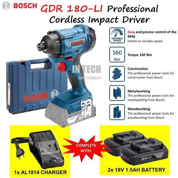 BOSCH GDR180-LI PROFESSIONAL CORDLESS IMPACT DRIVER (1NO AL1814CV CHARGER & 2NOS 18V 1.5AH BATTERY)