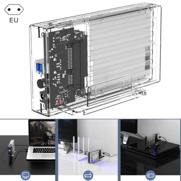 X-F 2.5inch Dual Bay HDD Case SATA to USB 3.0 Transparent Hard Drive Enclosure Support UASP