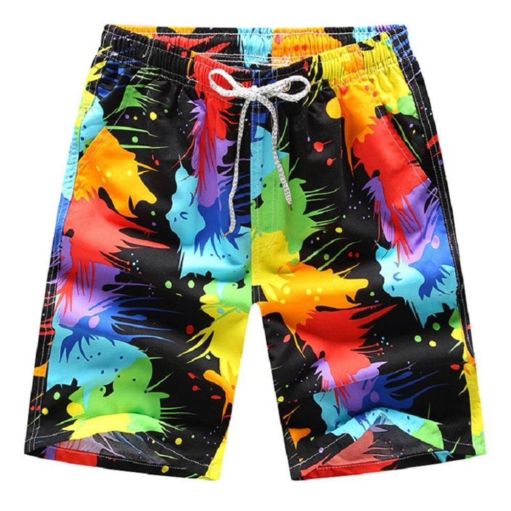 06114a28a3 Mens Beach Swimwears Shorts Quick Dry Board Shorts Printed Short Pants Mens  Casual Slim Boxers Bottoms