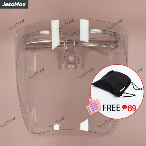【With Free Bag】Acrylic Face Shield Unisex Transparent Hd Full Face Shield Cover Baffle Block Anti Droplet Dust-proof Anti-uv Anti-shock Safety Face Mask【Ready Stock】