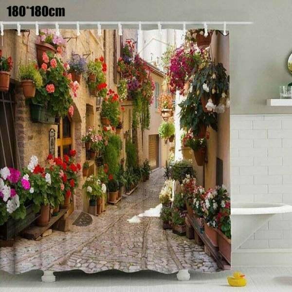 Rèm Phòng Tắm, Cảnh Thiên Nhiên, Hoa Đường Phố Cổ 3D Trang Trí Nhà Phòng Tắm Không Thấm Nước