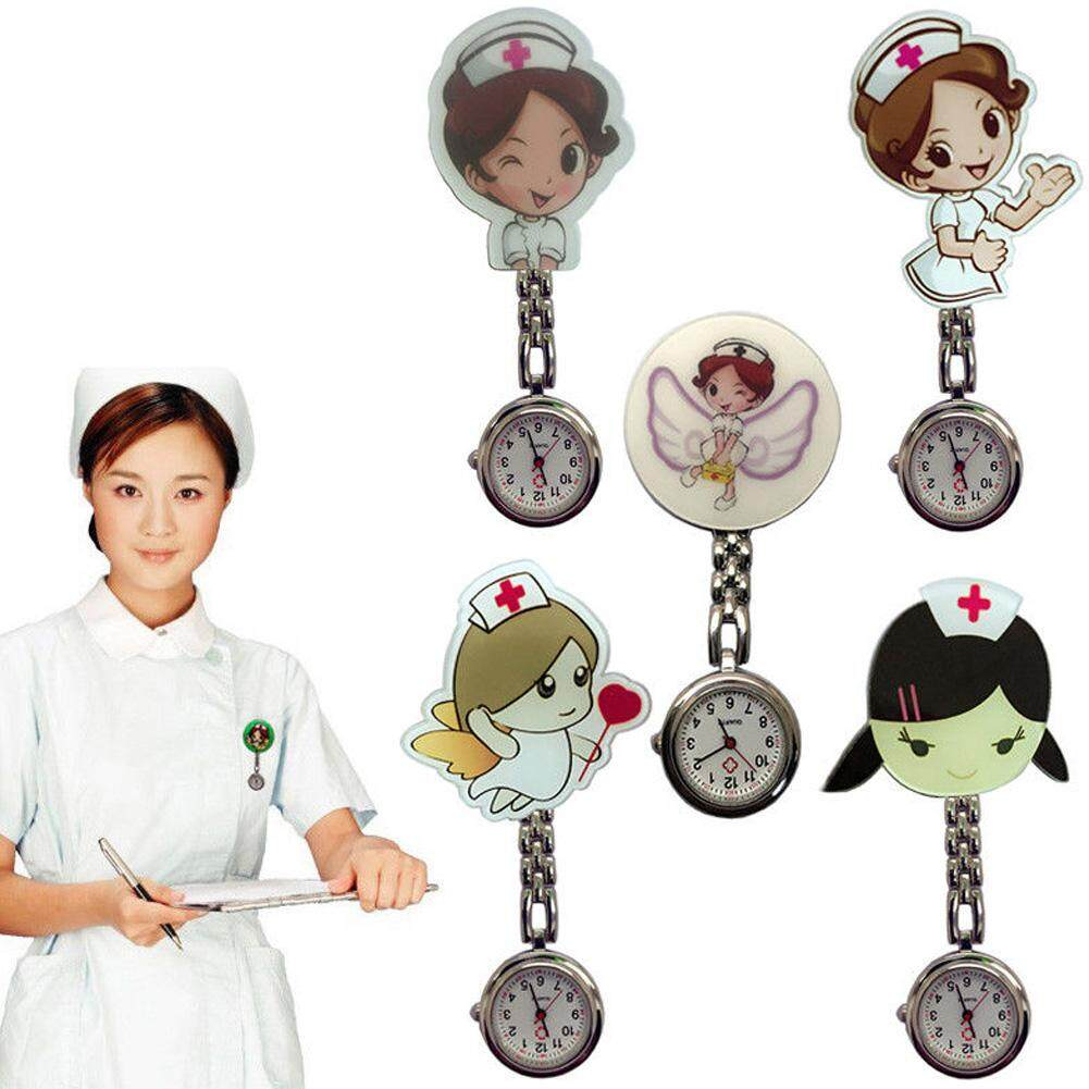 Nurse Watch Women Watch Super Cute Cartoon Girl Pattern Luminous Pin Quartz Movement Pocket Fob Great Gift For Women Malaysia