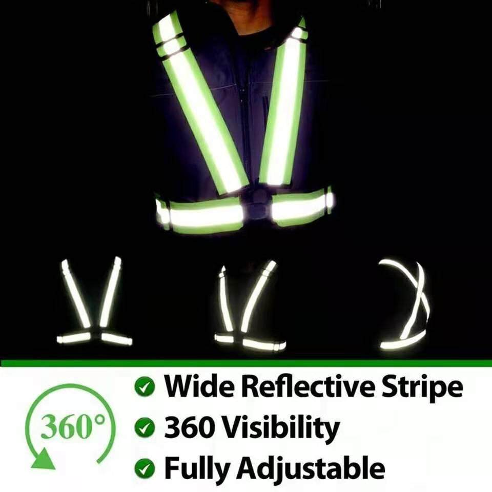 [ 3 DAYS PROMO ] SAFETY HIGH VISIBILITY REFLECTIVE VEST WAISTCOATUnisex Outdoor Cycling Safety Vest Bike Ribbon Bicycle Light Reflecing Elastic Harness for night riding running Jogging