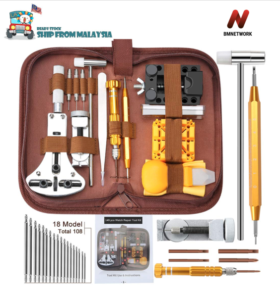 🔥Ready Stock🔥 BMNETWORK Professional 149 Pcs Watch Repair Tools Kits Upgraded Version Watches Battery Replacement Watchband Link Remover Spring Open 55mm back case Malaysia