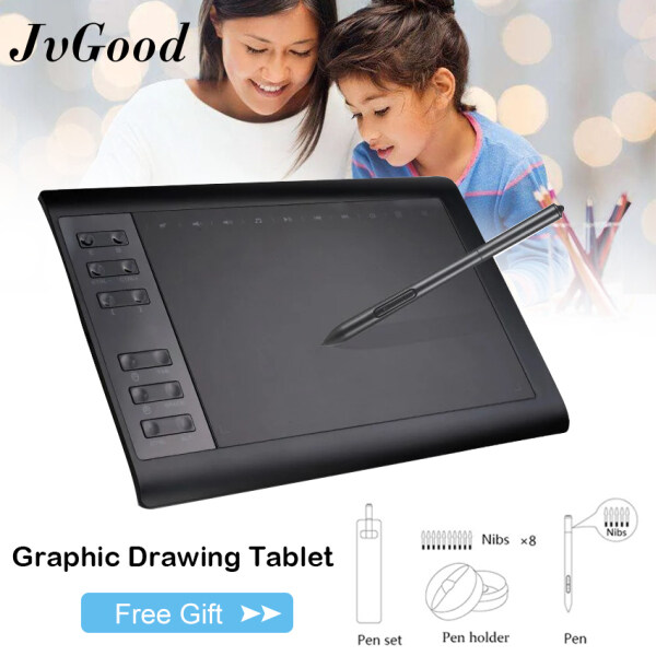 JvGood Graphics Tablets Drawing Tablet Digital Drawing Pad with 8192 Pen pressure Levels & Battery-Free Pen 10*6 Inch Professional Graphic Tablet Compatible Android Device & Support PC Laptop/Desktop Computer