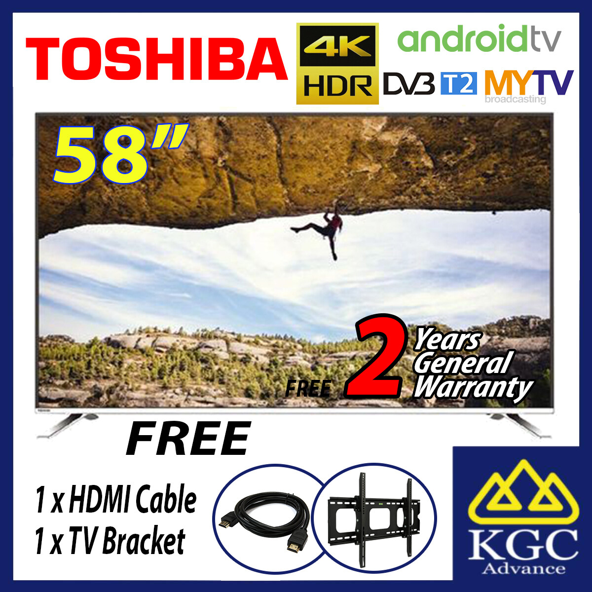 Toshiba 58 inch Android 4K UHD LED TV 58U7880VM (Free Bracket + HDMI Cable)