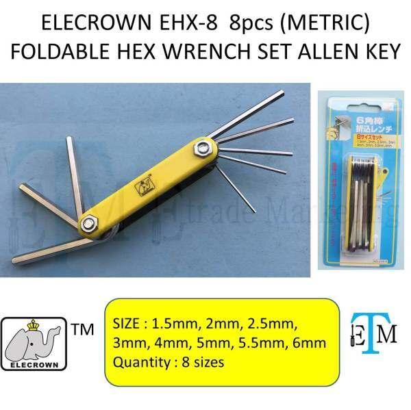 ELECROWN EHX-8  8pcs (METRIC) FOLDABLE HEX WRENCH SET ALLEN KEY